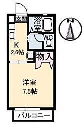 岡山県総社市中央1丁目の賃貸アパートの間取り