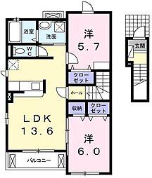 東京都あきる野市渕上の賃貸アパートの間取り