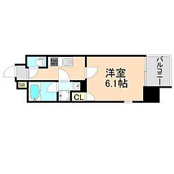 JR東西線 大阪天満宮駅 徒歩1分の賃貸マンション 12階1Kの間取り