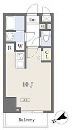 プライムコート本八幡 9階ワンルームの間取り