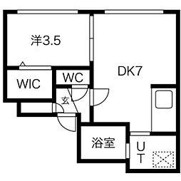 CASA N7 1階1DKの間取り