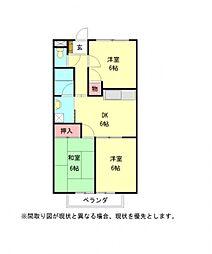 愛知県岩倉市昭和町3丁目の賃貸アパートの間取り