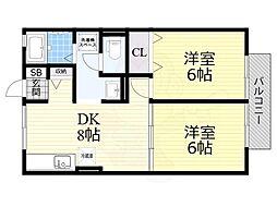 Osaka Metro御堂筋線 なかもず駅 徒歩7分の賃貸アパート 1階2DKの間取り