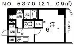 グランパシフィック今宮[6階]の間取り