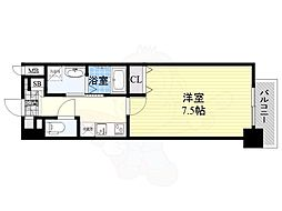Osaka Metro谷町線 南森町駅 徒歩7分の賃貸マンション 9階1Kの間取り