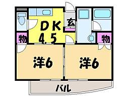 愛媛県松山市宮西3丁目の賃貸マンションの間取り