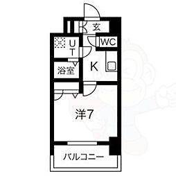 名古屋市営鶴舞線 大須観音駅 徒歩8分の賃貸マンション 4階1Kの間取り