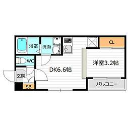Osaka Metro谷町線 千林大宮駅 徒歩9分の賃貸アパート 2階1DKの間取り