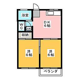 フォーブル三浦A[2階]の間取り