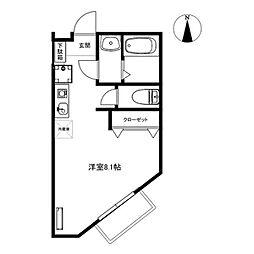 仙台市営南北線 北仙台駅 徒歩14分の賃貸アパート 1階ワンルームの間取り