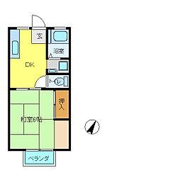 愛媛県今治市中日吉町3丁目の賃貸アパートの間取り