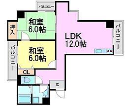 ルー・エーベル常光寺壱番館[2階]の間取り