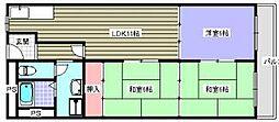 労住まきのハイツ1号棟[2階]の間取り