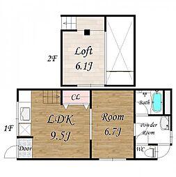 高殿6丁目テラス 1階1LDKの間取り