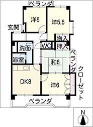 トウフジ滝ノ水B棟[2階]の間取り