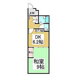 長野電鉄長野線 湯田中駅 徒歩13分の賃貸マンション 4階1DKの間取り