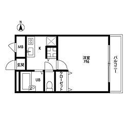 大阪府東大阪市四条町の賃貸アパートの間取り