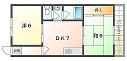 メゾン赤松 3階2DKの間取り