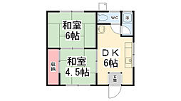 兵庫県川西市平野1丁目の賃貸アパートの間取り