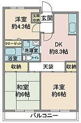 埼玉県鶴ヶ島市松ヶ丘5丁目の賃貸マンションの間取り
