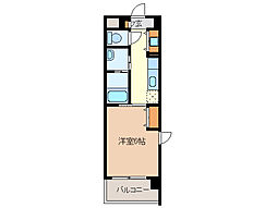 近鉄名古屋線 江戸橋駅 徒歩9分の賃貸マンション 6階1Kの間取り