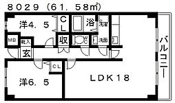ハイグレード高井田[401号室号室]の間取り