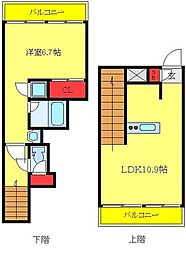都営三田線 蓮根駅 徒歩3分の賃貸マンション 2階1LDKの間取り