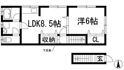 兵庫県宝塚市南ひばりガ丘1丁目の賃貸アパートの間取り