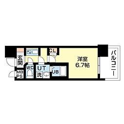 名古屋市営鶴舞線 上前津駅 徒歩5分の賃貸マンション 3階1Kの間取り