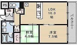 ぷりんすマンション[401号室]の間取り
