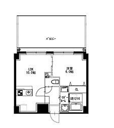 都営新宿線 曙橋駅 徒歩4分の賃貸マンション 6階1LDKの間取り