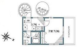 東急東横線 祐天寺駅 徒歩3分の賃貸テラスハウス 3階1Kの間取り