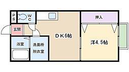 日之出荘苑 D[D201号室]の間取り