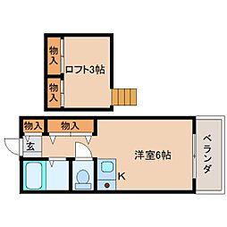 近鉄奈良線 富雄駅 徒歩3分の賃貸マンション 2階ワンルームの間取り