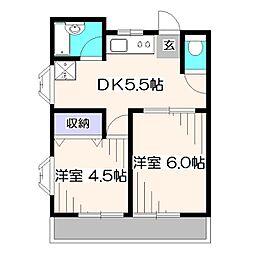 東京都東久留米市幸町5丁目の賃貸アパートの間取り