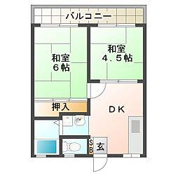 第二清住ハイツ[2階]の間取り
