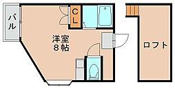 福岡県福岡市博多区青木1丁目の賃貸アパートの間取り
