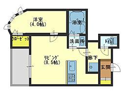 JR大阪環状線 桃谷駅 徒歩10分の賃貸マンション 2階1LDKの間取り