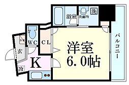 Osaka Metro千日前線 野田阪神駅 徒歩5分の賃貸マンション 6階1Kの間取り