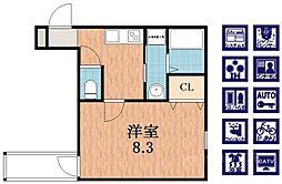 大阪府大阪市住吉区遠里小野3丁目の賃貸アパートの間取り
