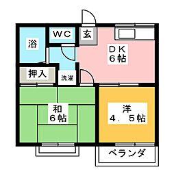 サンロワール六名東 A棟[2階]の間取り