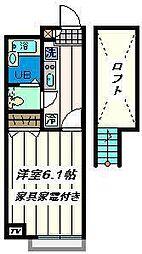 千葉県市川市下貝塚2丁目の賃貸アパートの間取り