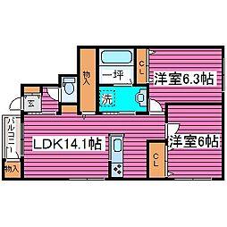 北海道札幌市北区屯田五条9丁目の賃貸アパートの間取り