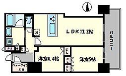 ブランズタワー・ウェリス心斎橋SOUTH 8階2LDKの間取り