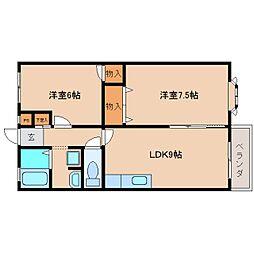 奈良県奈良市学園赤松町の賃貸アパートの間取り