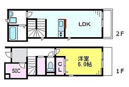 JR中央線 荻窪駅 徒歩7分の賃貸アパート 1階1LDKの間取り