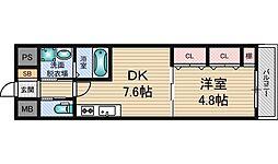 パークフラッツ新大阪[4階]の間取り