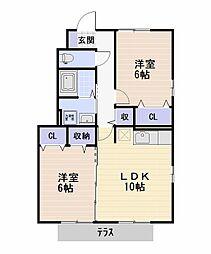 D-room エクセルパークC[1階]の間取り