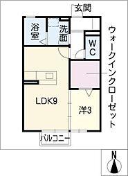 レセンテ豊田[1階]の間取り