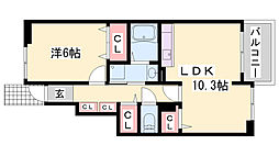 JR播但線 福崎駅 徒歩29分の賃貸アパート 1階1LDKの間取り